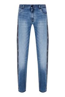 Зауженные синие джинсы Fendi