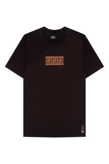 Черная футболка с монограммой Fendi