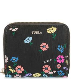 Черный кожаный кошелек с цветочным принтом Furla