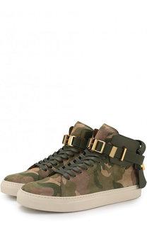 Высокие замшевые кеды на шнуровке с камуфляжным принтом Buscemi