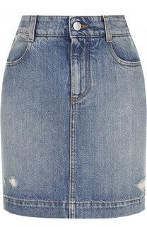 Джинсовая мини-юбка с потертостями Stella McCartney