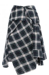 Хлопковая юбка асимметричного кроя в клетку Faith Connexion