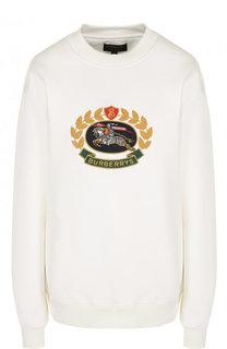 Хлопковый пуловер с круглым вырезом и логотипом бренда Burberry