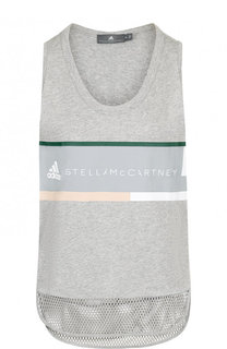 Хлопковая майка прямого кроя с перфорированием Adidas by Stella McCartney