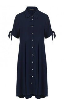 Однотонное платье-рубашка асимметричного кроя Pietro Brunelli