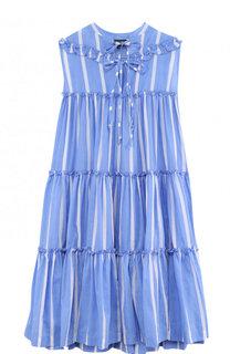 Платье свободного кроя из смеси хлопка и шелка с оборкой NATAYAKIM
