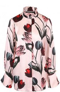 Шелковая блуза с воротником-стойкой и принтом Mother Of Pearl