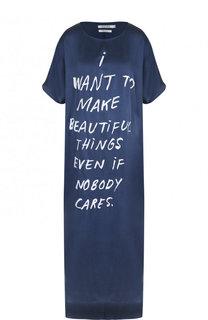 Шелковое платье-миди с разрезом и надписями 5PREVIEW