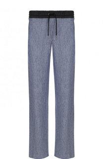 Льняные брюки прямого кроя с поясом на кулиске Giorgio Armani
