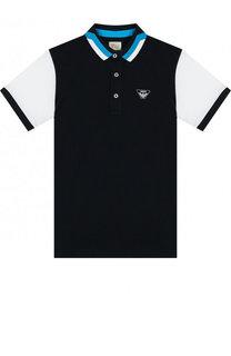 Хлопковое поло с логотипом бренда Armani Junior