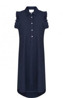 Однотонное хлопковое платье с оборками Pietro Brunelli