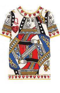 Мини-платье прямого кроя с принтом и пайетками Dolce & Gabbana