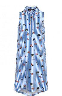Хлопковое мини-платье с принтом Pietro Brunelli