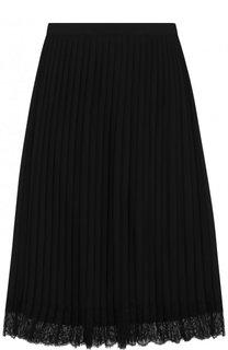 Плиссированная юбка-миди с кружевной отделкой DKNY