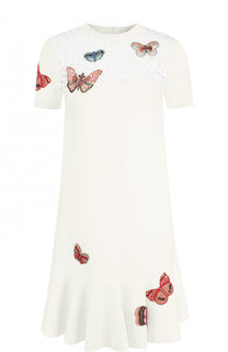 Вязаное мини-платье из вискозы с декорированной отделкой Valentino