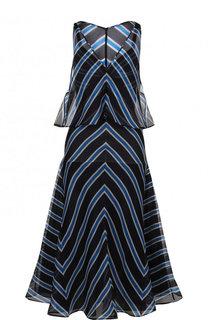 Шелковое платье-миди с V-образным вырезом в полоску Fendi