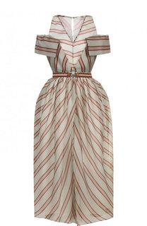 Шелковое платье-миди с поясом в полоску Fendi