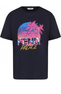 Хлопковая футболка с круглым вырезом и принтом Fendi