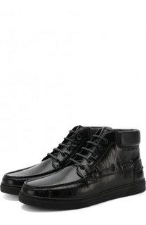 Высокие кожаные ботинки на шнуровке Saint Laurent