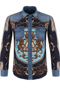 Хлопковая рубашка на кнопках с шелковой вставкой Dolce & Gabbana