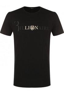 Хлопковая футболка с логотипом бренда Billionaire