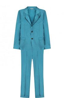 Шелковый костюм из брюк и пиджака Dolce & Gabbana