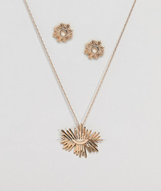 Подарочный набор с ожерельем и серьгами Nylon - Золотой