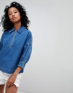 Джинсовая рубашка с молнией Noisy May - Синий