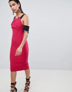 Платье-футляр миди с отделкой The 8th - Розовый