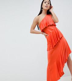 Ярусное платье миди на одно плечо с драпировкой ASOS DESIGN Petite - Оранжевый