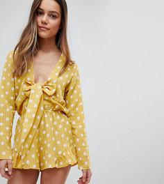 Ромпер в горошек с оборками и бантом Glamorous Petite - Желтый