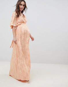 Жаккардовое платье макси с расклешенными рукавами ASOS DESIGN Maternity - Оранжевый