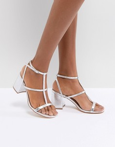Серебристые решетчатые босоножки на каблуке Glamorous - Серебряный