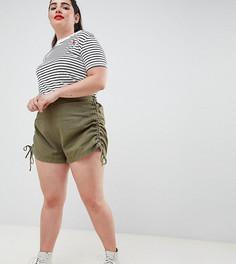 Базовые шорты со сборками ASOS DESIGN Curve - Зеленый