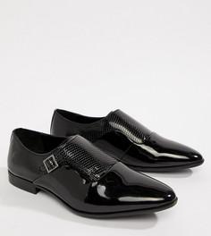 Черные монки из искусственной кожи для широкой стопы ASOS DESIGN - Черный