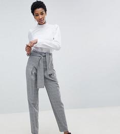 Суженные брюки в клетку с завязкой и открытой молнией ASOS DESIGN Tall - Мульти