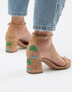 Босоножки на среднем каблуке с вышивкой Glamorous - Бежевый