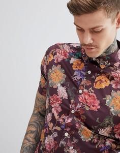 Приталенная рубашка с цветочным принтом ASOS DESIGN - Красный