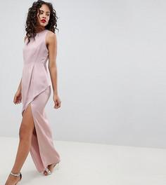 Атласное платье макси с асимметричной ярусной юбкой ASOS DESIGN Tall - Розовый