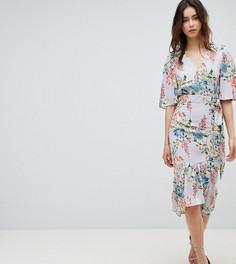 Платье миди с запахом, рукавами кимоно и цветочным принтом ASOS DESIGN Tall - Мульти