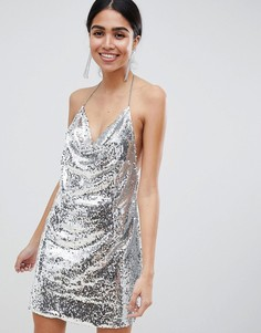 Платье мини с серебристыми пайетками Lasula - Серебряный