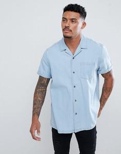Приталенная джинсовая рубашка с отложным воротником ASOS DESIGN - Синий