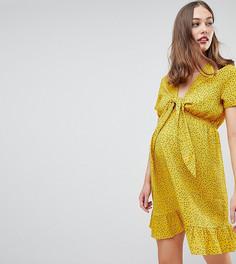 Чайное платье мини с принтом Glamorous - Желтый