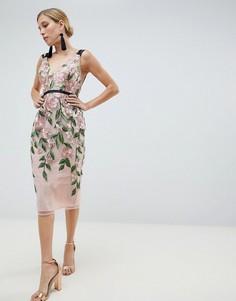 Платье-футляр миди с цветочной вышивкой ASOS DESIGN - Мульти