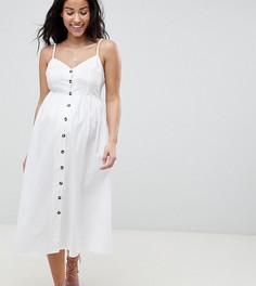 Льняной сарафан на пуговицах эксклюзивно для ASOS DESIGN Maternity - Белый