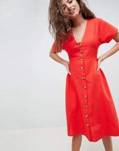 Приталенное платье миди в стиле casual на пуговицах ASOS DESIGN - Красный
