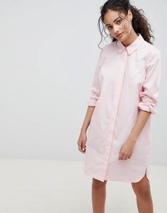 Хлопковое платье-рубашка ASOS DESIGN - Розовый