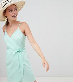 Платье миди с запахом и добавлением льна ASOS DESIGN Petite - Зеленый