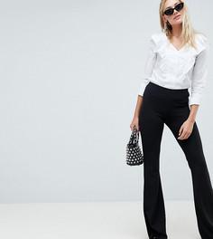 Расклешенные брюки из трикотажного крепа ASOS DESIGN Tall - Черный