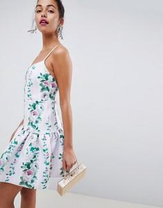 Короткое приталенное платье в полоску с заниженной талией и цветочным принтом ASOS DESIGN - Мульти